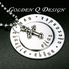 Personalised Baby Name Latin Cross Necklace Valentine's Day Gift For Family D118