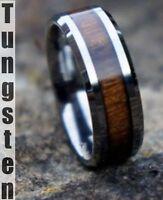 New Genuine KOA Wood Inlay Mens Tungsten Carbide Wedding Band Ring