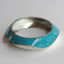 Silver plated blue enamel bangle bracelet