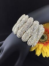 Classic Pageant Queen Big Pave Austrian Clear Crystal Stretch Bracelet Gold Tone