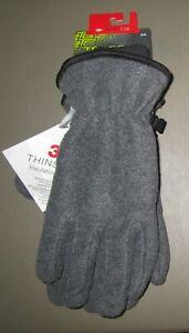 TEK GEAR~SMALL MEDIUM~Men's Dk Coal Heather Cuffed Thinsulate Microfieece Gloves