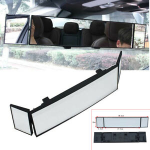 Car Panoramic Convex Clear Lens Wide Angle Lens Clip On Rear View Mirror 386mm