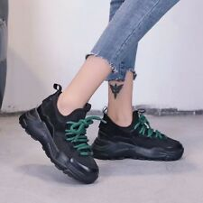 Womens Hidden Wedge Heels Sneakers Lace up Platform Athletic Casual Creeper Shoe