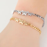 Stainless Steel Butterfly Chain Bracelets Women Wristband Bangle Gifts JewelBXUI