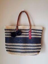 NWT Merona Straw Tote Beach Bag Purse Oversize Navy Blue Stripe Pom Pom Zip Top