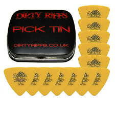 12 x Dunlop Tortex Triangle Guitar Picks - 0.73mm Yellow In A Pick Tin