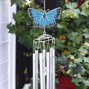 Large Chalkhill Blue Butterfly Windchime - Spiral Pipes Sun Catcher