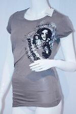 GSUS SINDUSTRIES Walnut PUNK CHICK Tee Shirt TOP Gathered Side S