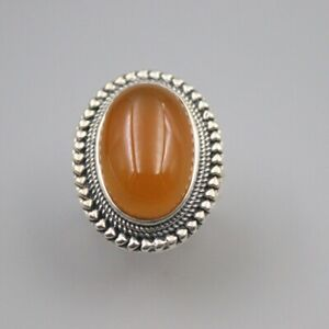 Solid 925 Sterling Silver 26mm Oval Orangle Chalcedony Woman's Ring Size 6-12