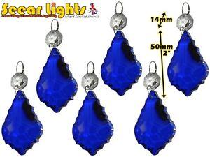 6 CHANDELIER CUT GLASS CRYSTALS RETRO BLUE LEAF DROPS CHRISTMAS TREE DECORATIONS