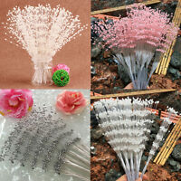 10PCS Pearl Beaded Bridal Bouquets Wedding Party DIY Decor White Pink Silver New