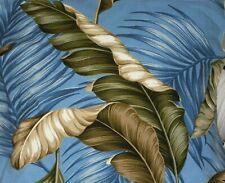 Tropical Hawaiian Cotton Barkcloth Fabric Pillow SLIPCOVER ~Banana Leaves-Slate~