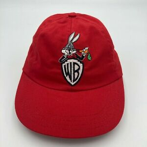 Vintage ACME WB Bugs Bunny Stetch Fit Hat Cap Red Elastic Band Adult Made In USA