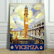 VINTAGE TRAVEL CANVAS ART PRINT POSTER - Vicenza Clock Tower - Italy - 24x16""