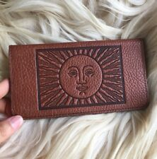 Oberon Design Leather Check Wallet~ Tarot Sun~ Out Of Production Checkbook Cover
