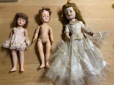 3 Vintage Tlc Hard Plastic Dolls- Sweet Sue-1 made In Usa-1 P-90 Ideal Toni
