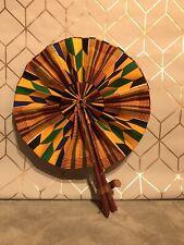 Ghanaian African Handmade Fan Blue Yellow Green Design