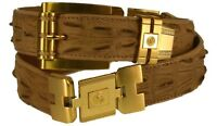 Men's New Western Leather Crocodile Tail Design Belt W/ Gold Fittings Sand