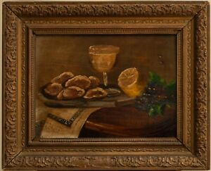Antique 1800s Oil Painting on Wood Jewish Table Still Life Old Realism Old Art