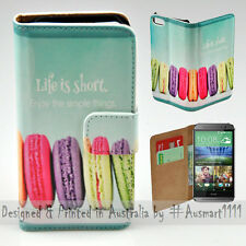Wallet Phone Case Flip Cover for HTC One M8 - Macaroon Cookies Illustration