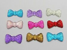 50 Mixed Color Bowknot Bows Flatback Dotted Rhinestone Gem 20mm Flatback Resin