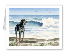 Bluetick Coonhound at the Beach Set of 10 Note Cards With Envelopes