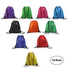 Nylon Blank Bulk Drawstring Backpack Basic Gym Sack 10PCS multicolors