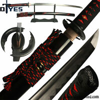 Damascus Folded Steel Clay Tempered Blade Japanese Samurai Katana Sword Sharp
