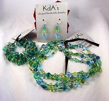KDA's Blue Green Glass Beaded Necklace Bracelet Earrings Set   CAT RESCUE