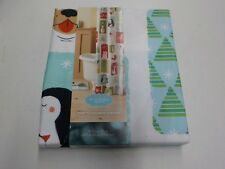 ST. NICHOLAS SQUARE HOLIDAY CHEER SHOWER CURTAIN SNOWMAN PENGUINS NEW #11609