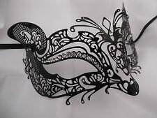 Lovely Venetian Style Black Cat diamonte Mask Filigree Masquerade /prom / ball
