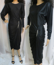 Vintage 80's Black Body Con Cocktail Party Dress Draping & Rhinestones Small