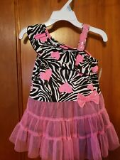 NWT Piper Baby Baby Girls Zebra Print Dress with hearts white, black, pink 18m