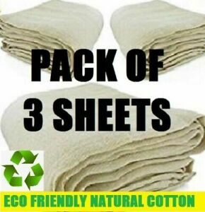 3 x LARGE PROFESSIONAL COTTON DUST SHEETS PAINTING DECORATING ( 24/3- 3 PACK )