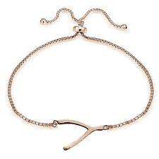 Rose Gold Tone over 925 Sterling Silver Wishbone Polished Adjustable Bracelet