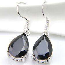 Fashion Jewelry Gift Drop Black Onyx Gemstone Silver Dangle Hook Earrings