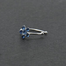 AB Crystal Flower Thin Diamante Cartilage Earring,Tragus Nose Hoop Helix Ring