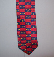 """Atlanta SILHOUETTE WINGS Design Red Navy Blue Silk 56"""" Neck Tie made in USA #869"""