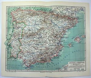 Original 1904 Map of Spain and Portugal by Meyers. Vintage