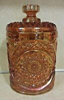 HOBSTAR-MARIGOLD CARNIVAL GLASS COOKIE JAR & LID IMPERIAL GLASS MARKED RARE