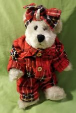 """Boyds Bears Desdemona T. Witebred #912075 Red Plaid Flannel Pajamas 8"""" Retired"""