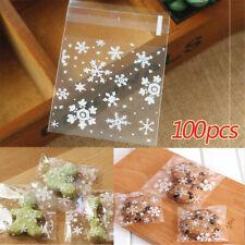 100pcs Xmas Cellophane Candy Gift Bags Snowflakes Cello Cookies Merry Christmas