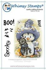 "Stempel ""Penguin Spook Nite"" Whimsy Stamps, Pinguin mit Hexenhut, Halloween"