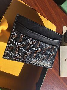 New Black Goyard Goyardine Cardholder Wallet