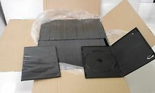 100 Single Black  7mm Spine Slim CD DVD Bluray Cases Storage Sleeves 1 Box
