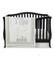 Little Wonders 3 Piece Baby Crib Bedding Set - Catch A Cloud - NEW White & Gray