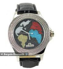 Diamond mens big silver World Map Watch white blue red gold black ice out maxx