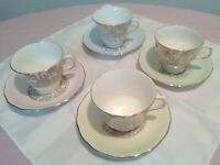 Matching SET of 4 TEA CUPS and Saucers Antique English Bone China, Nice Pastels