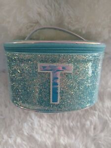 NEW Girl's Justice Blue Glitter Initial T Train Case Jewelry Makeup Case