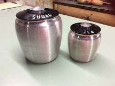 vintage kromex aluminum black plastic lid Sugar/tea canister set of 2
